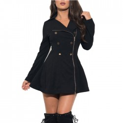 Fashion Black Commuter Slim Double-breasted Button Jacket Winter Warm Women Coat
