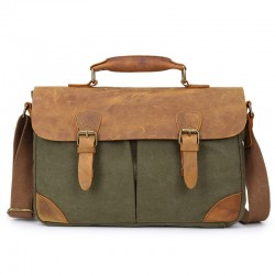 Retro  Briefcase Leather Canvas Double Hasp Shoulder Bag Messenger Bag