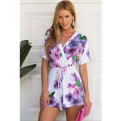 Latest Violet Printed Short-sleeved V-neck Piece Romper&Jumpsuit