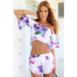Sexy Violet Collar Bra Printing Casual Two-piece Suit Jumpsuit