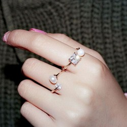 Elegant Zircon Pearl Opening Rings Girls Rings
