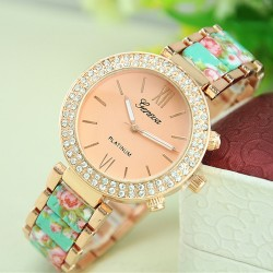 Retro Noble Rhinestone Ceramic Metal Floral Watch