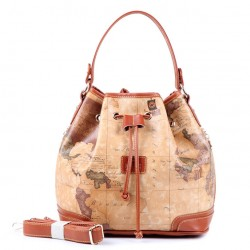 Casual Retro World Map Bucket Handbag Messenger Bag Shoulder Bag 22620d876c238