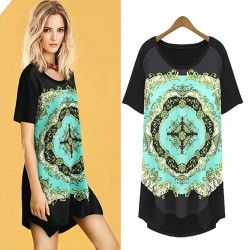 Retro Floral Pattern Asymmetrical Hem Loose Short Sleeve Long T-shirt