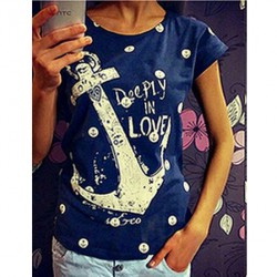 Casual Anchors Dot Love Letter Pattern Short-sleeve Hollow Back T-shirt