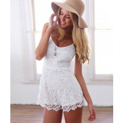 White Lace Round Neck Braces One Piece Romper&Jumpsuit