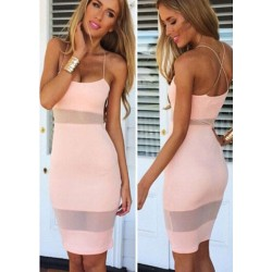 Sexy Soild Cross Brace Backless Mesh Dress