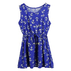 Fashion Round neck Navy Anchors Dress