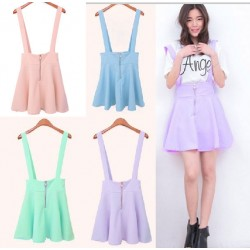 College Style Candy Color Strap Pleated Dress