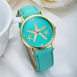 good Elegant Starfish Metal PU Watch
