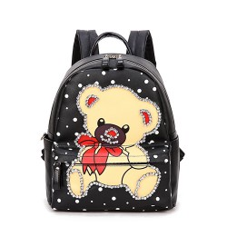 Hot Street Lovely Bear Pattern Diamond Rivet Travel Backpack