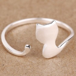 Cute Silver Cat Rings Kitten Adjustable Animal Open Ring