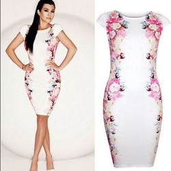 Elegant White Sleeveless Both Sides Flowers Printed Slim Dress