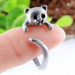Unique Lovely Silver Cat Finger Bypass Open Adjustable Animals Ring
