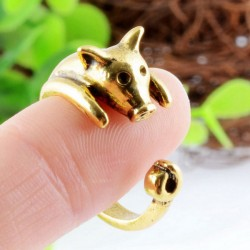 Super Lovely Golden Piggy Adjustable Animals Opening Ring