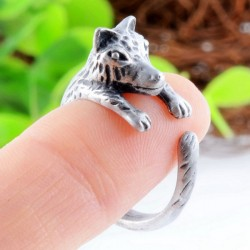 Lovely Little Wolf Open Adjustable Animals Ring Gift Girl Ring