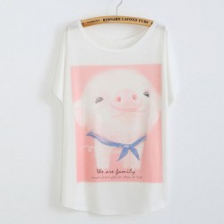 Lovely Piggy Printed Cotton T-Shirt