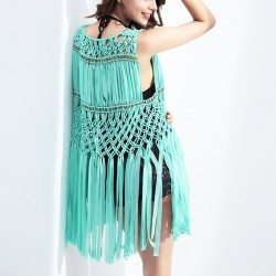 Women's Sleeveless Tassel Hook Flower Hollow-out Cardigan