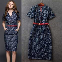 Stylish Slim Short Sleeve Stand Collar Floral Denim Dress
