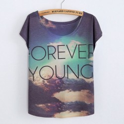 Original Gradient Sky Forever Young Printed Cotton T-Shirts
