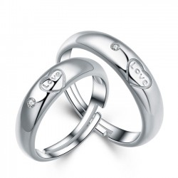 Romantic Silver Lover Ring Adjustable Size Couple Open Ring