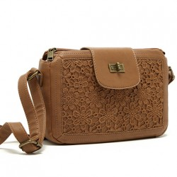 Leisure Brown Lace Flower Square Pillow Bag Shoulder Bag Messenger Bag