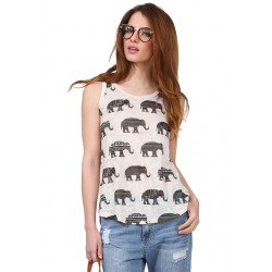 Elephant Printing Irregular Round Neck Sleeveless Vest T-shirt