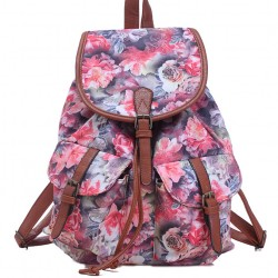Leisure Rose Floral College Rucksack Flower School Bag Canvas Backpacks