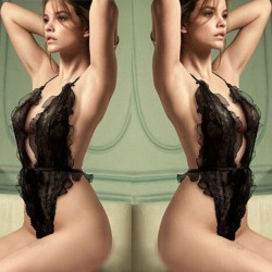 Sexy Ruffle Hollowed-out See Through Halter Backless Jumpsuits Black Sweet Lace Lady Lingerie