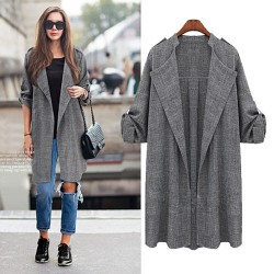 Brief Solid Rolled Sleeves Leisure Lapel Collar Fat Lady Cardigan Coat
