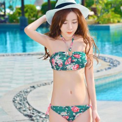 New Floral Printed Bikini Sexy Women Halter Beachwear Swimwear
