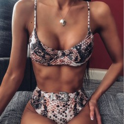Sexy Leopard Green Steel Prop Buckle Bikini Sling High Waist Summer Swimsuit