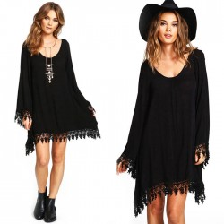 Leisure Women's Tassel Chiffon Black Long Sleeves Splicing Loose Dress