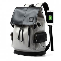 Unique Gray USB Port Large Capacity Vertical Zipper PU Men's School Bag Computer Backpack