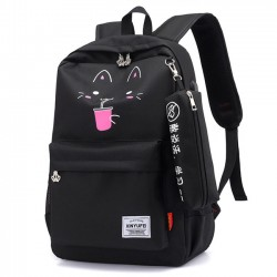 Cute New York Bear Cartoon Cat Print USB Waterproof Large Student Bag School Backpack