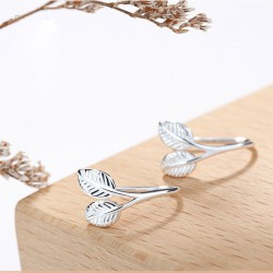 Sweet Forest Leaf Delicate Girl Student Gift Leaves Silver Earrings Studs