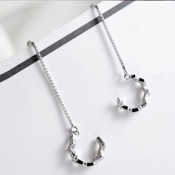 Cute Silver Women Drop Diamond Long Line Earring Clip