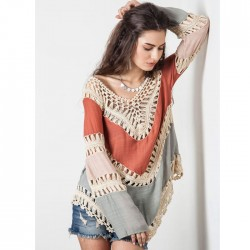 Women Bikini Dress Assorted Color V Neck Knitted Shirt Blouse Beachwear