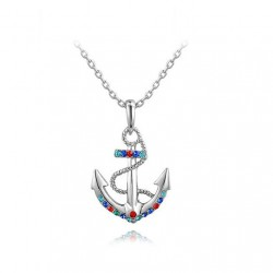 Navy Soul Stylish Multicolor Crystals Anchors Pendant Necklace