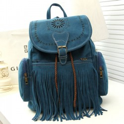 Folk Hollow Flowers Flannelette Draw String Girl's Tassel PU Bucket School Backpack