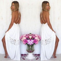 Fashion Hollow-out Backless Lace Summer Stitching Lady Long Dress