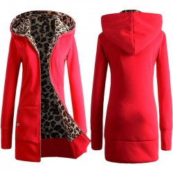 Leisure Hooded Thicken Leopard Sweatshirt Women Sweater Coat