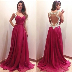 Sexy Women's Red Splicing Lace Backless Formal Prom Gowns Long Maxi Dress Evening Dresses