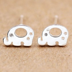 Cute Animal Earring Studs Women Silver Elephant Earrings Studs