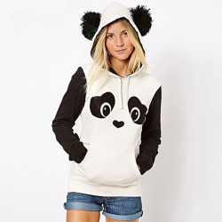Winter Lovely Hairball Panda Animals Hoodies Thicken Fleece Sweatshirts