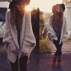 Batwing Knitted Long Cardigan Sweater Coat Oversize Knitwear