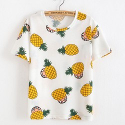 Unique Pineapple Printed Fruit Cotton Summer T-Shirts