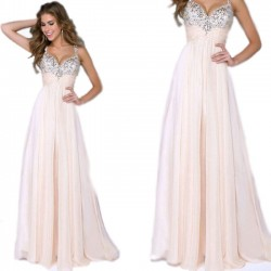 Elegant Girl's Sequins Sparkly Maxi Prom Dress Ruffles Chiffon Braces Evening Dresses