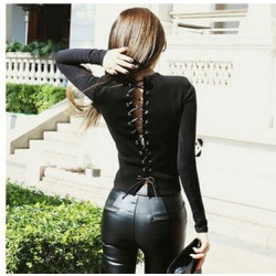 Slim Halter Blackless Bandage Long-sleeved Shirt