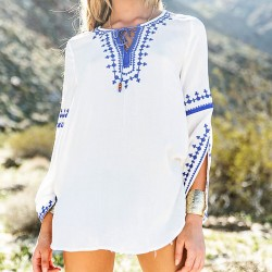 Women's Slit Long Trumpet Sleeves Chest Straps Embroidery Printing Tops
